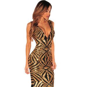 Black Gold Sequins Gown Dress